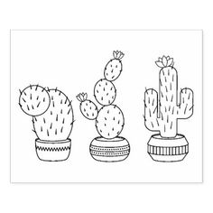 Potted Cacti - Cactus Plants Coloring Page Rubber Stamp - office ideas diy customize special