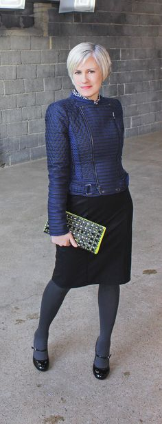 blue hue wonderland--over 40 style--over 50 fashion--mature style-over forty fashion blogger--BCBG jacket--neon yellow bag