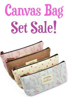 Canvas Bag Set of Four: $3.91 + FREE Shipping!  {use to organize your makeup in your purse, pens, etc!}