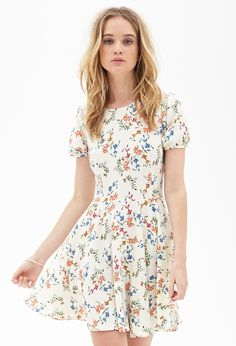 Floral Foliage Skater Dress #F21StatementPiece - http://AmericasMall.com/categories/juniors-teens.html