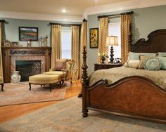 Gorgeous bed and beautiful colors.    Window Hardware Design, Pictures, Remodel, Decor and Ideas - page 2