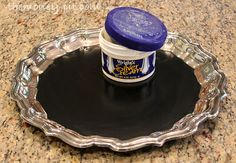 Silver Serving Tray Chalkboard (Tutorial)--there are so many great ideas on this site...
