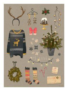 Xmas illustration by matejakovac on Etsy Christmas Mood, Noel Christmas, Christmas Design, All Things Christmas, Vintage Christmas, Christmas Crafts, Christmas Decorations, Xmas, Winter Things