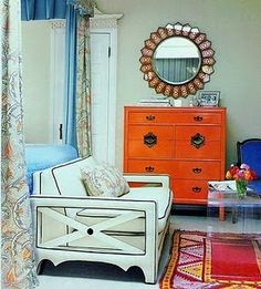 bright orange painted furniture