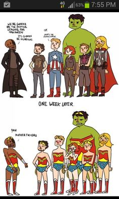 The Avengers dress up as the Justice League for Halloween.
