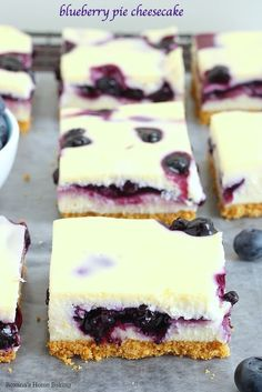 The ultimate blend of flavors and textures, these cheesecake bars combine smooth as silk cheesecake with blueberry pie filling. You won't be able to stop at just 1 bite!