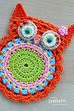 Crochet Owl Coaster pattern by zoom yummy – Handwerk und Basteln Crochet Owl Applique, Owl Crochet Patterns, Crochet Owls, Crochet Amigurumi, Owl Patterns, Crochet Gifts, Crochet Motif, Crochet Flowers, Crochet Stitches