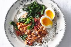 This quick-cooking vegetarian dinner is packed with protein and nutrients, thanks to cannellini beans, soft-boiled eggs, and fresh baby spinach. Hoping to get ahead on dinner this week? You're in luck: you can cook the rice and chop the vegetables over the weekend. Mashing some of the beans as they cook turns the tomato mixture into somewhat of a stew, which is always welcome during the chilly winter months. While we're partial to this particular combination of ingredients, feel free to…