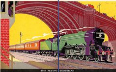Flying Scotsman    This is an illustration from the 1927 childrens' book 'Picture Book of Trains'  Published by 'Nelson'. Artist Unknown. Train Posters, Railway Posters, Flying Scotsman, Isometric Art, Train Pictures, Vintage Graphic Design, Vintage Travel Posters, Vintage Photographs, Old Photos