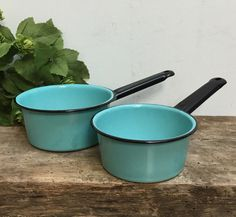 VintageTurquoise Pans Small Pot Pan Blue by PrairieVintageFinds