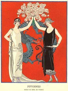 «Pivoines, robes du soir de Worth», by George Barbier, 1924.