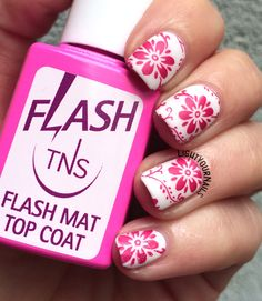Red flowers matte stamped nail art #nailart #lightyournails