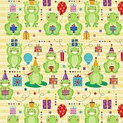 """""""Happy Birthday Celebrate"""" Frog Wrapping Paper - for backdrop for photo."""