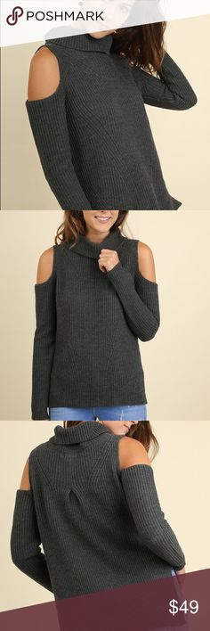 Cold shoulder sweater Grey Cold shoulder turtle neck sweater by Umgee. Super comfy and cute, perfect for fall Umgee Sweaters Cowl & Turtlenecks