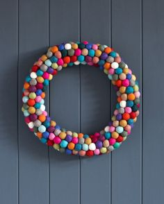 Felt ball wreath..colorful, fun.
