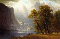 Albert Bierstadt Yosemite Valley hand painted oil painting reproduction on canvas by artist Famous Landscape Paintings, Landscape Art, Oil Paintings, Albert Bierstadt Paintings, Hudson River School, Yosemite Valley, Oil Painting Reproductions, Sierra Nevada, Canvas Art Prints