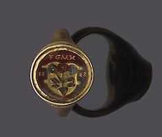 A late 16th century foiled rock crystal signet ring, ca. 1583 A.D. on ring.