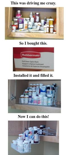 Pull Down Spice Rack in the Medicine Cabinet -- need several of these for spice cabinet and medicine shelf