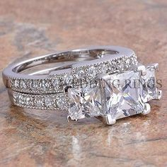 3.75Ct Princess Cut 3 Stone Engagement Wedding Ring Set Women's Bridal Jewelry