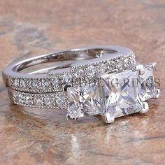 3.75Ct Princess Cut 3 Stone Engagement Wedding Ring Set Women's Bridal Jewelry