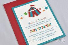 Boys Circus or Carnival Birthday Party Invitations