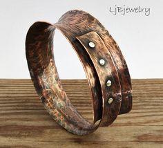 Bracelet de cuivre, mélangés bracelet métal, bracelet d'instruction, terreux Style organique, cuivre, argent Sterling, bijoux Metalsmith, Anticlastic