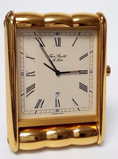 JEAN ROULET LE LOCLE Travel Alarm Clock with Date Goldtone Swiss Made 672 Model | eBay Le Locle, Mid Century Bedroom, Travel Alarm Clock, Dating, Model, Ebay, Quotes, Scale Model