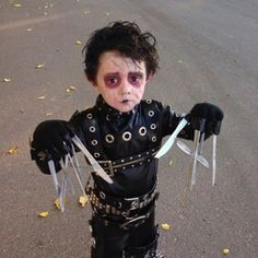 Child Edward Scissor Hands Costume.  Check out this board to find female and adult Edward Scissor Hands Halloween costumes.  http://hearthomeholidays.com/edward-scissor-hands-costume/