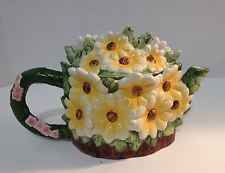 Vintage Collectible WCL Majolica Style Daisy Patch Ceramic Colorful Teapot