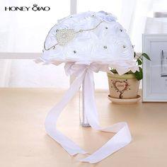 Elegant White Wedding Bouquet for Brides Bridesmaid Rhinestone Decorative Polyester Roses Ribbon buque de casamento Cheap