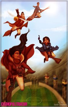 If Disney Princesses Went to Hogwarts - Li Shang took months to notice that Mulan was A WOMAN, but as it turns out he's excellent at spotting the Golden Snitch in a game of Quidditch. Arte Disney, Disney Fan Art, Disney Magic, Disney Hogwarts, Disney And Dreamworks, Disney Pixar, Disney Characters, Emo Disney, Disney And More