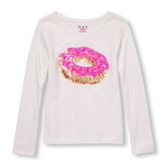 Image for Girls Long Sleeve Embellished Graphic Open Neck Top from The Children's Place