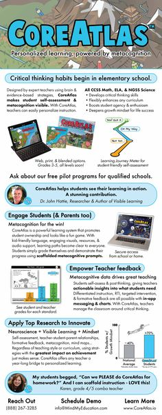 Add #Metacognition to ANY Math, ELA & NGSS curriculum!  www.CoreAtlas.io  Students-Teachers-Parents #KidsDeserveIt #cpchat #suptchat Student Self Assessment, Student Teacher, Critical Thinking, Elementary Schools, Curriculum, Parents, Students, Science, Math
