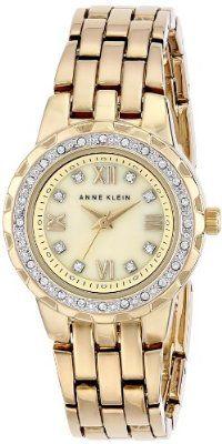 Anne Klein Women's Swarovski Crystal Accented Gold-Tone Bracelet Watch buy at mariescrystals.com