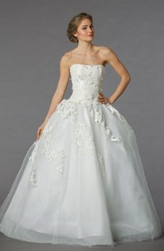 Strapless Princess/Ball Gown Wedding Dress  with Natural Waist in Tulle. Bridal Gown Style Number:32848038