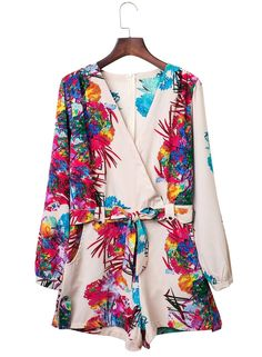 Women's Fashion V-Neck Long Sleeve Print Romper With Belt .Check more from…