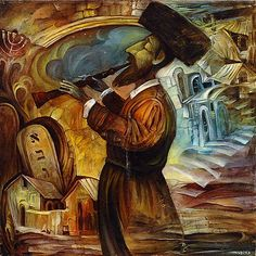 Hasidic Playing the Flute By Boris Shapiro
