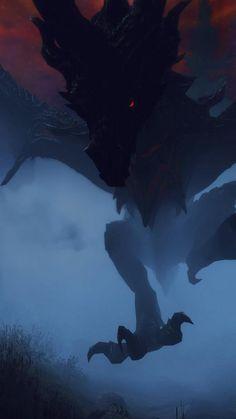 Skyrim the elder scrolls dragon Alduin elder scrolls - Games The Elder Scrolls, Elder Scrolls Oblivion, Elder Scrolls Games, Elder Scrolls V Skyrim, Elder Scrolls Online, Fantasy Dragon, Dragon Art, Fantasy Art, Fantasy Creatures