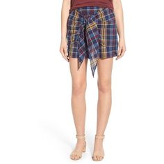 Madewell 'Lilian' Plaid Tie Front Cotton Skort (130 TND) ❤ liked on Polyvore featuring skirts, mini skirts, uniform blue, blue plaid mini skirt, white skort, cotton skirt, white cotton mini skirt and plaid skort