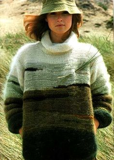 En mohair, les lichens et les dunes : le pull lichens - Le blog des Centidéalistes Knitting For Kids, Free Knitting, Knitting Projects, Crochet Patron, Knit Crochet, Cozy Sweaters, Sweaters For Women, Vintage Knitting, Pulls