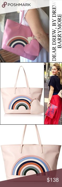 "🌈Dear Drew by Drew Barrymore | On The Go Tote 🌈 Drew Barrymore had a travel-inspired ""love letter to women"" pop up shop in NYC and this bag, in partnership with Amazon Fashion was a part of that collection. It's lightweight vegan leather, 10"" shoulder strap, 11.5""x20.5"" Pink like my photo. NWT. Dear Drew by Drew Barrymore Bags Totes"