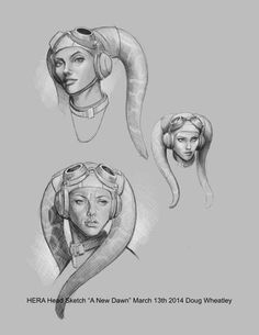 [Hera Twi'lek Pilot] Star Wars artist Doug Wheatley shared some preliminary sketches he did of Kanan and Hera for his A New Dawn cover.