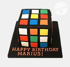 Cakes pictures on sports and hobbies, Rubik Cube 3D shaped cake