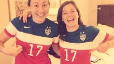 Sabrina Delannoy & Laure Boulleau sporting Tobin Heath's jersey