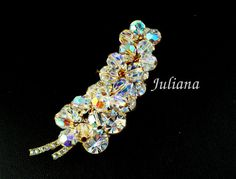 Vintage D&E Juliana Aurora Borealis Crystal and Rhinestone Brooch, Leaf Book Piece! Bridal Bouquet, Prom, Downton Abbey, Mothers Day Gift