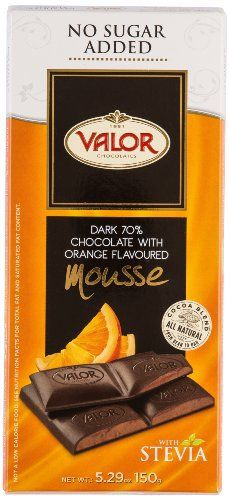 Valor Chocolates No Sugar Added 70% Dark Chocolate with Orange Mousse , 5.3 Ounce - http://bestchocolateshop.com/valor-chocolates-no-sugar-added-70-dark-chocolate-with-orange-mousse-5-3-ounce/