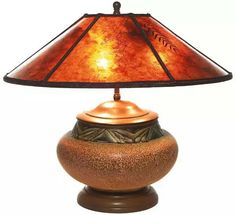 "Rookwood lamp, bulbous shape with carved geometric design under a great matt glaze, attributed to W.E. Hentschel, supporting a contemporary mica shade with pressed leaves and branches, 18""dia. x 18""h."