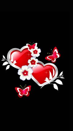 Red and white hearts and butterflies - Heart Black Background Wallpaper, Black Phone Wallpaper, Heart Background, Heart Wallpaper, Love Wallpaper, Cellphone Wallpaper, Iphone Wallpaper, Cross Wallpaper, Widescreen Wallpaper