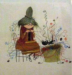 Bruja tejiendo.