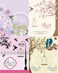 Вектор цветок свадебные приглашения